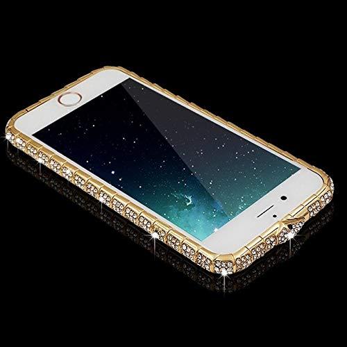 LIUYAWEI Luxuy Diamond Bumper on para iPhone XS MAX XR 6 6S 7 8 Plus Marco de Hebilla de Serpiente de Metal con Purpurina y Diamantes de imitación para teléfono, Dorado, para iphone7
