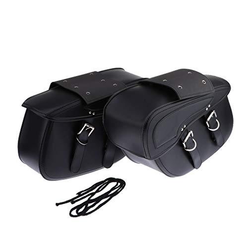 Toygogo 2pcs Bolsas de Sillín de Motocicleta Cuero Sintético Alforja de 2 Correas Bolsa de Herramientas de Trabajo Pesado Impermeable - Negro