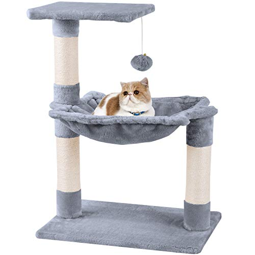 MC Star Cat Tree Climbing Tower Scratching Post Cat Bed Platform with Plush Hammock and Toy Ball Sisal Covered 70cm, Grey