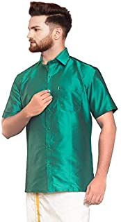 SJS-Men's Half Sleeve Solid Art Silk Shirt (Dark Cyan, 36)