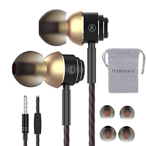 Écouteurs Intra-Auriculaires avec Micro, Hemesic Oreillettes Filaires Haute Qualité Audio Anti-Bruit Casque de...