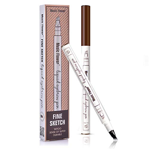 Tattoo Eyebrow Pen with Four Tips Long-lasting Waterproof Brow Gel and Tint Dye Cream for Eyes Makeup(1#Chestnut)
