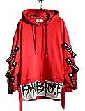 Hello MrLin Herren Techwear Japanischer Harajuku Kapuzenpullover Hip Hop Streetwear Urban Hoodie, Rot, M