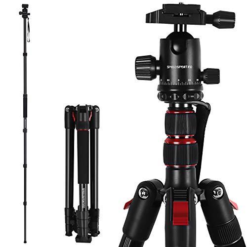 SPEEDSPORTING Kamera Stativ 195cm Aluminium Stativ Reisestativ mit Einbeinstativ, Fotostativ 360° Kugelkopf mit Schnellwechselplatte Tragetasche für Canon Nikon Sony Olympus