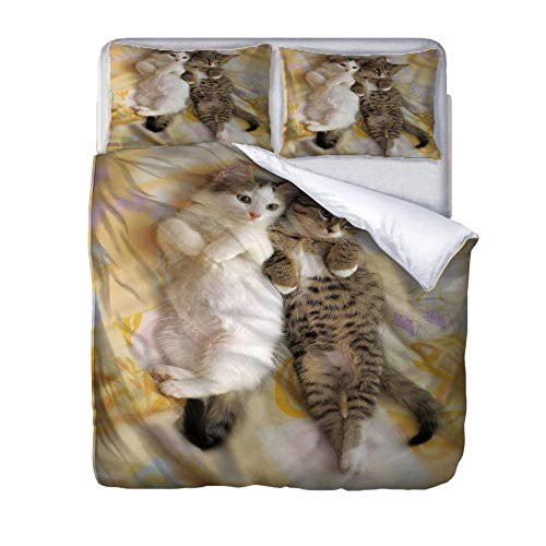 Printed Duvet Cover Pet cat Bedding Polyester with Pillow Cases 3 pcs set with Zipper Closure Easy Care Anti-Allergic Soft & Smooth Apply to Boy Girl Bedroom 200x200cm