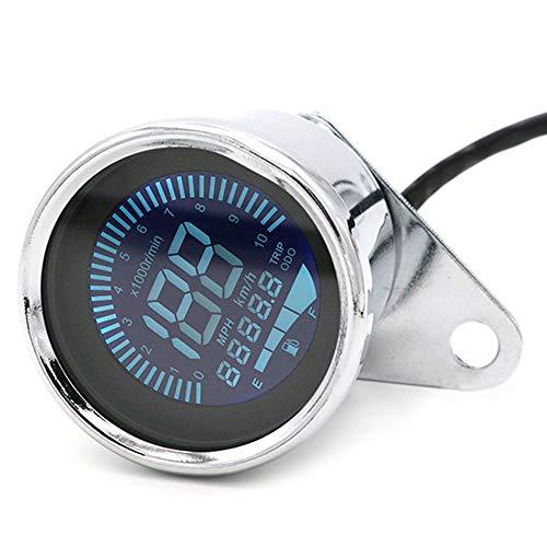 Tacómetro LCD para motocicleta, velocímetro, medidor de combustible para Honda, Kawasaki, Yamaha, Suzuki, Cafe Racer, Old School Bobber (plateado)