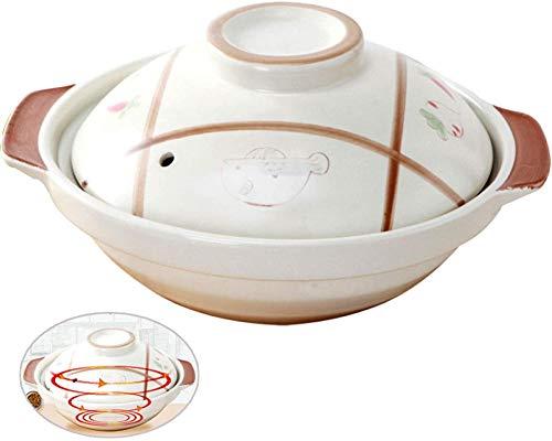 DUDDP Cacerola Cocinar  Pan Sauté Pan Plato de cazuela Poco Profunda con Tapa - tazón de Piedra de Spodumene de Alta Temperatura, pote de estofado Antiadherente (Color : White, Size : 1L)