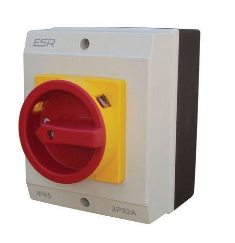 ESR Electric E324P Schalter Dreh-Trennschalter 4-polig 32A IP65 Gehäuse Outdoor wetterfest Elektrobox IP65