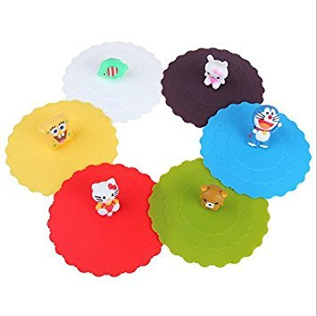 Astro shop 6pc x Adorable Anti-dust Silicone Glass Cup Cover Coffee Mug Cover Lids Suction Seal Lid Cap
