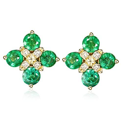 ANAZOZ 18K Oro Amarillo Pendientes de Mujer Oro Verde Pendientes Cruz con Esmeralda Verde Blanca 0.96ct