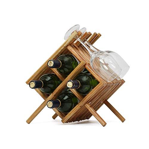 JUNYYANG Botella de Madera encimera Gabinete de Mesa Vino de Almacenamiento Ranuras for 4 Botellas de Vino Capaz Botella Top Almacenamiento 4 Ranuras for la Copa de Vino Colgador Copa.