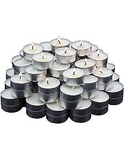 REGALOS ESTRELLA AZUL Velas Blancas, Velas de té sin Aroma, 38 mm, parafina, duración de combustión: 4 Horas (50 Unidades)