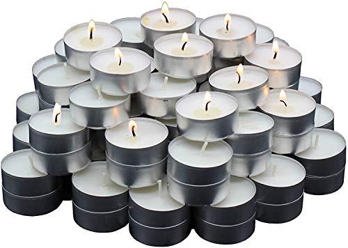 REGALOS ESTRELLA AZUL Velas Blancas, Velas de te sin Aroma, 38 mm, parafina, duracion de combustion: 4 Horas (50 Unidades)