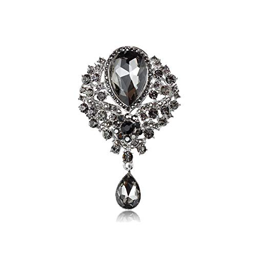Brosche in Tropfenform, verschiedene Farben, Vintage-Stil, Glaskristalle, für DIY Hochzeit, Brautsträuße, Schmuckzubehör, 7406 Grau
