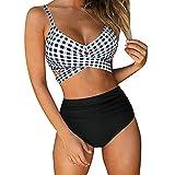 Berimaterry Conjuntos Bikinis Mujer brasileños Floral Impresión 2021 Ropa de Playa Mujer Dos Piezas Dividido de bañadores Mujer reductores Tiro Alto Bikinis Mujer Push up con Relleno Traje de baño