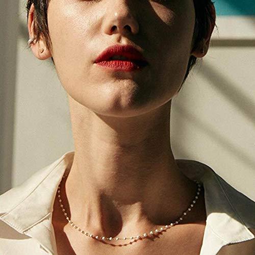 Collar Jewelry Colgante Collar De Gargantilla De Perlas KPOP Cadena De Oro En Capas Collares Lindos para Mujeres Collar De Clavícula Colgante Collar De Regalo De Joyería