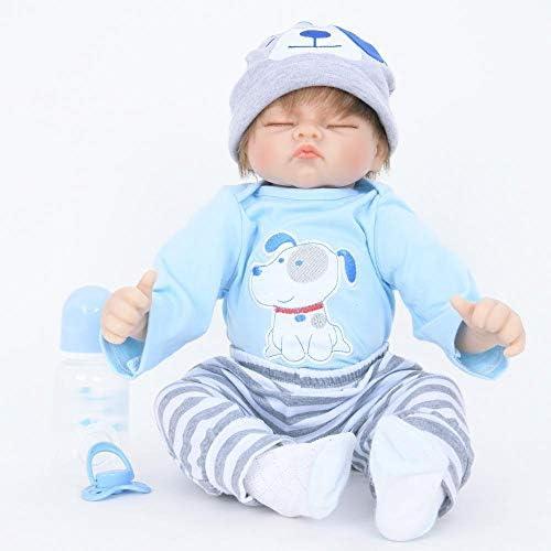 Hongge Reborn Baby Doll,Lebensechte Silikon Reborn Puppe Spielzeug Geburtstagsgeschenk für Weißnachten Spielzeug 55cm