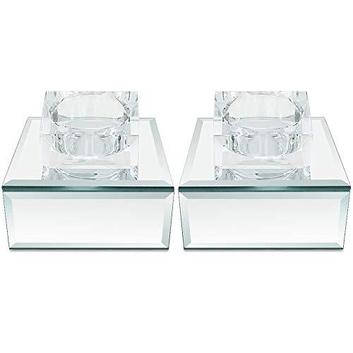 Meetart Silber Spiegel Glas Kristall helle Kerzenhalter, Moderner Mode Teelichthalter, Elegante High-End romantische Wohnaccessoires, je 2er-Set. (Ohne Kerzen)