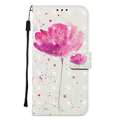 Funluna Hülle Für Xiaomi Redmi 7A, Stoßfest Brieftasche Lederhülle, Trageschlaufe, Ständer, Kartenfächer, Magnetverschluss, Silikon Handytasche, Tulpe
