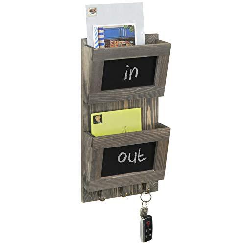 MyGift 2-Slot Rustic Grey Mail Sorter w/Chalkboard Labels & 3 Key Hooks
