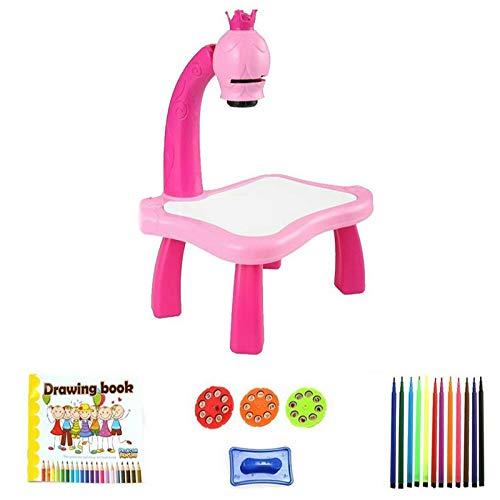 SNOWINSPRING Kinderspielzeug Malerei Zeichnung Lerntisch Led Smart Projektor Musikspielzeug Kunsthandwerk für Kinder Kleinkind Spielzeug (B)