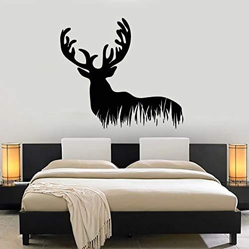 Ciervos pared calcomanía animal salvaje bosque silueta vinilo ventana pegatina dormitorio caza hobby club decoración interior papel tapiz arte