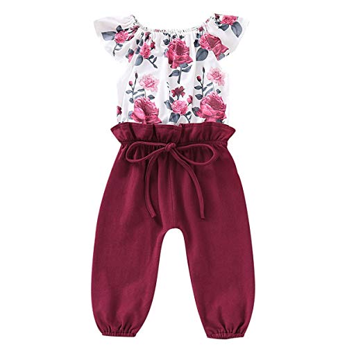 HaiQianXin Kinder Mädchen Mode Outfit Overall Baby Kleinkind Floral Jumpsuit Strampler (Size : 2-3T)