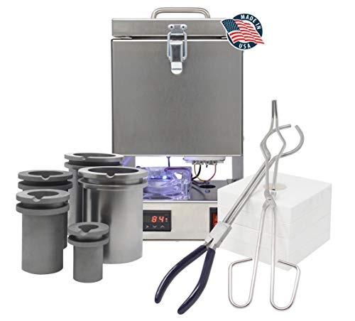 Tabletop Deluxe QuikMelt Top-Loading 10 oz 1, 2, 3, 4 KG Electric Furnace Crucibles Tongs Flanges Metal Jewelry Casting Melting Kiln Made in The U.S.A.