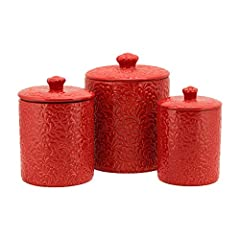 3 Piece Set includes: 1 x 24 fl oz Small Canister, 1 x 34 fl oz Medium Canister, 1 x 60 fl oz Large Canister Embossed pattern on canister and lid Ceramic lids with silicone gaskets Perfect for storing your countertop staples like flour, sugar, coffee...