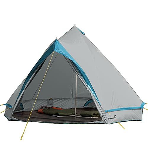 Skandika Comanche Tipi Zelt Outdoor | Campingzelt für bis zu 8 Personen, eingenähter Zeltboden, Moskitonetz, 2,5 m Stehhöhe, Stahl-Gestänge | Indianerzelt, Partyzelt, Festivalzelt, Glamping (grau)