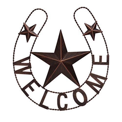 """EBEI Metal Country Lucky Horseshoe Decor Rustic Western Home Wall Decor 19"""" Dark Brown Retro Metal Wall Hanging Decorations Saying Welcome…"""