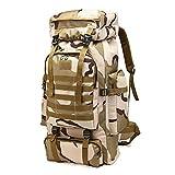 RatenKont Mochila grantáctica Militar Militar con Capacidad 80L para Hombre Mochila Impermeable para Deportes al Aire Libre Senderismo Acampada Caza Mochilas 3D 4 Other