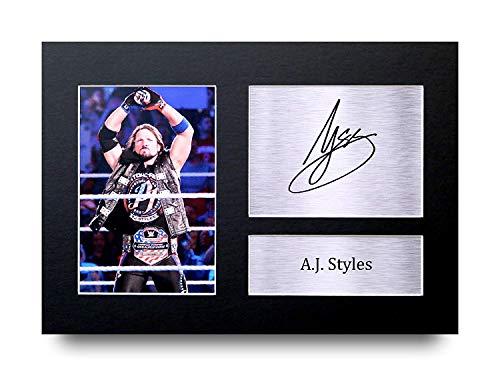HWC Trading A.J. Styles A4 Ungerahmt Signiert Gedruckt Autogramme Bild Druck-Fotoanzeige Geschenk Für WWE Wrestling-Fans