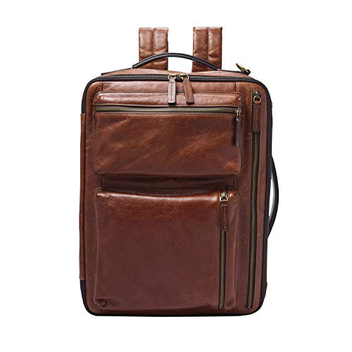 """Fossil Men's Commuter Convertible Backpack, Cognac (Leather), Large-13 L x 4.5"""" W x 17"""" H"""