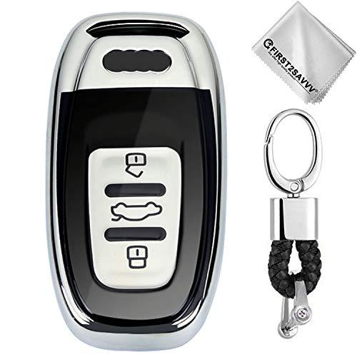 First2savvv Coque de Protection pour clé de Voiture Intelligente 3 Button Audi A4 A6 A5 A7 A8 Q5 Q7 S5 S6 S7 KY-Audi-GJQ-ZN-3J-16