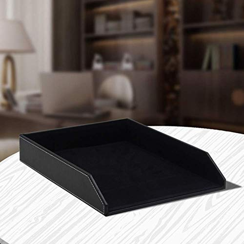 Organizador de escritorio de cuero, bandeja de oficina útil para oficina de oficina o cajón, bandejas de correo y medios apilables, bandejas de presentación de oficina, marrón Leyue (Color : Black)
