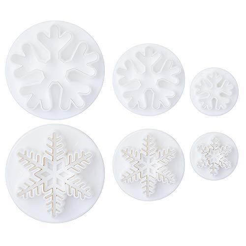 LIHAO 6 Moldes de Copo de Nieve de la Tarta y Cortador del Embolo para Decoración de Pasteles Navidad