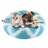 Cama De Gato 50cm Cama De Perro Mediano Pet Bed Cama Gato Redonda Cama para Mascotas Suave Y CáLida Cama para Perros De Felpa Cama para Perros Redonda Cama Mascotas Relajante, Rayas Azules y Blancas