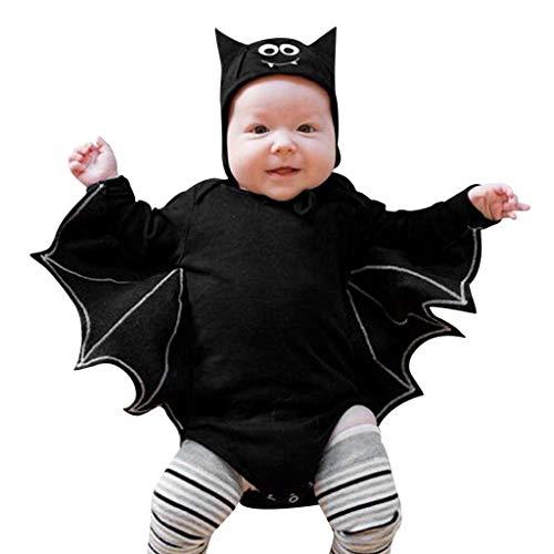 SUMTTER Halloween Weihnachten Kostüm Baby Strampler Hut Outfits Set Jungen Mädchen Cosplay Baby Kleidung Set Kleinkind (Schwarz0, 0-6 Monate / 70)