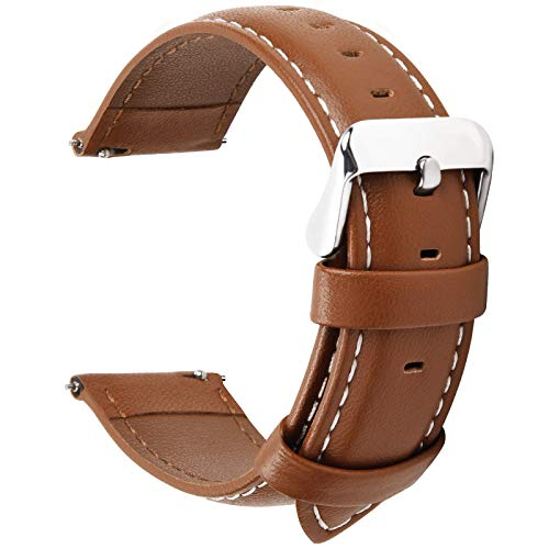 12 Colors for Quick Release Leather Watch Band, Fullmosa Axus Genuine Leather Watch Strap, Brown silver buckle, 18MM