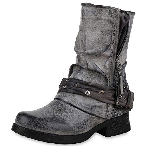 SCARPE VITA Damen Stiefeletten Biker Boots Leicht Gefütterte Stiefel Prints 172187 Grau 36