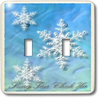 3dRose lsp_37011_2 Sung Tan Chuk Ha, Merry Christmas in Korean, Snowflake Double Toggle Switch