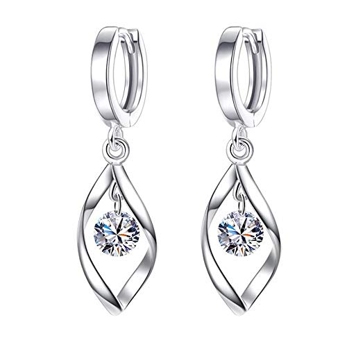 Ohrringe Creolen Tropfen mit AAAA Kristallen 925 Sterling Silber Tropfenform Ohrhänger