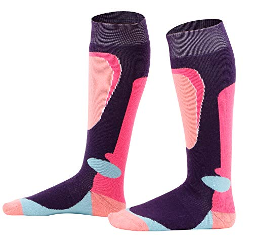 Halconia Girls Merino Wool Ski Socks Full Terry Skiing Socks, Coral/Pink/Aqua/Purple,M