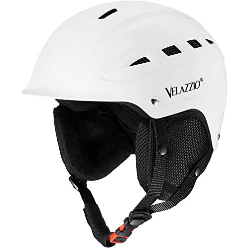 VELAZZIO Valiant Ski Helmet, Snowboard Helmet - Adjustable Venting, Goggles and Audio Compatible, Removable Liner and Ear Pads, Safety-Certified Snow Sports Helmet for Men, Women & Youth (White - M)