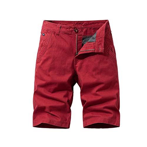 EUCoo-Homme Bouton Nouveau Style Coton Multi-Poches Salopette Short Mode Pantalon(Rouge,38)
