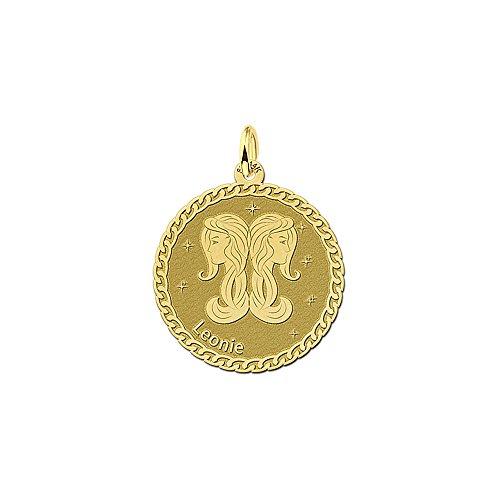 Namesforever Ankerkette mit Runder Anhänger aus 14 Karat (585) Gelbgold | Motiv Zwillinge Sternzeichen Tierkreiszeichen und Namens-Gravur auf der Vorderseite