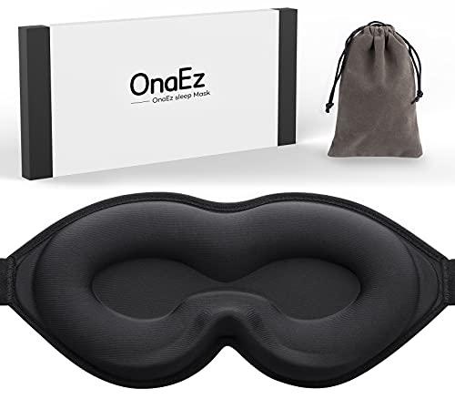 Schlafmaske für Frauen Herren, onaEz 3D Konturierte Schalen Augenmaske, 2021 Verbesserte 3D Naseninnen Design,100{7fba6a34afe63fd8067af210a7d856342fc7309107a4e44ad5d4a82c3c33ec8a} Lichtblockierende Schlafbrille, Superweiche schlafmasken für Nickerchen, Reisen