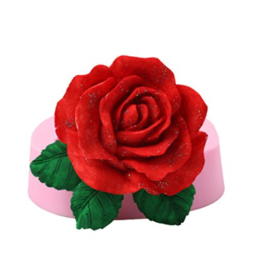 3D Big Rose Flower Cake Mold Silicone Fondant Chocolate Mould Baking Decorating, Resistant Low and High Temperature, Easy to Use and Clean Gessppo
