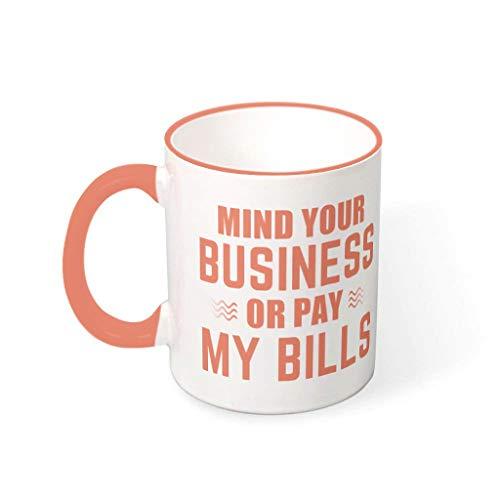 Huffle-Pickffle Tazas de café cuida de tu negocio taza de cerámica lisa importante moderna – Taza de cerámica apta para Lounge Persimmon 330 ml